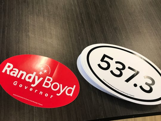 Car stickers for Randy Boyd's gubernatorial run.