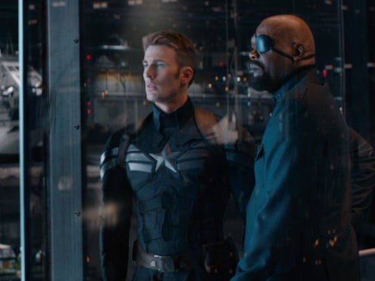Cap (Chris Evans) and Nick Fury (Samuel L. Jackson)