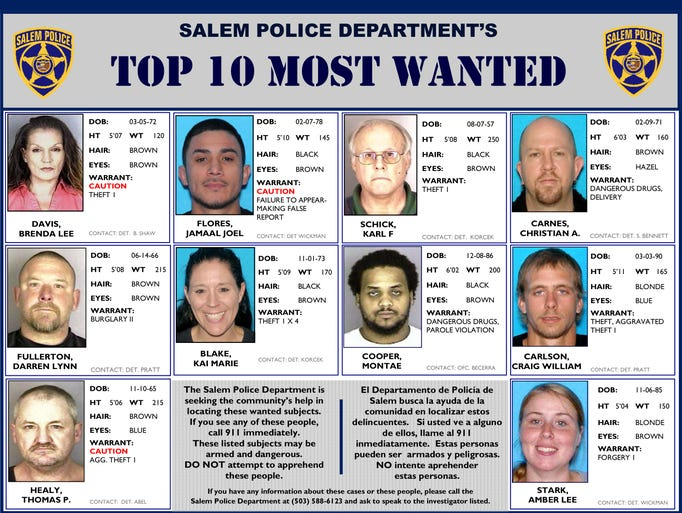 Salem Police Department's Top 10 Most Wanted poster, updated Aug. 7, 2014.