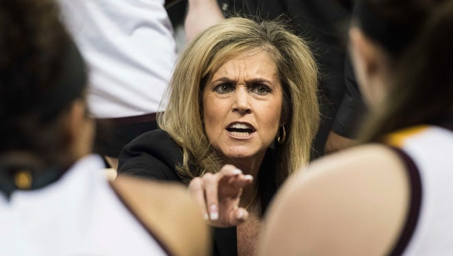 Arizona State head coach Charli Turner Thorne communicates with players during a timeout against Michigan State during a first-round game in the women's NCAA college basketball tournament Friday, March 17, 2017, in Columbia, S.C.