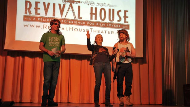 """Revival House"" founders Dressed as their favorite Kurt Russell characters, Rob Rector, Erin Tanner and Rob Waters welcome the audience to their first event."