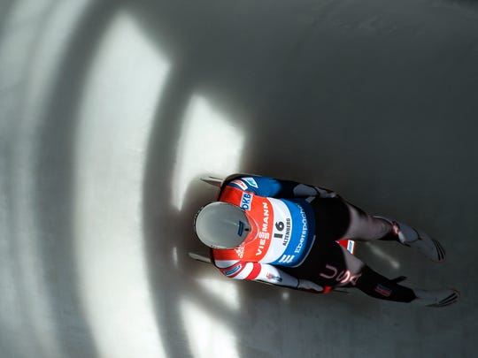 Glen Rock's Summer Britcher competes  during the women's luge World Cup race in Altenberg, eastern Germany, Sunday, Feb. 14, 2016.  Britcher placed ninth.