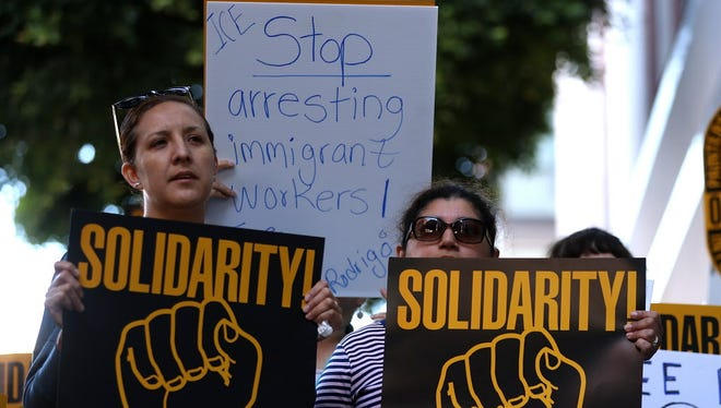 Rally outside of the San Francisco office of the Immigration and Customs Enforcement agency on June 20, 2017.