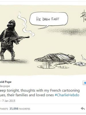 David Pope's editorial cartoon in response to the murders in Paris on Jan. 7, 2015.