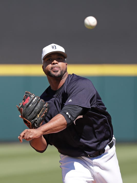 Detroit Tigers' Francisco Liriano pitches in the first inning a spring baseball exhibition game against the New York Yankees, Tuesday, March 6, 2018, in Lakeland, Fla. (AP Photo/John Raoux)