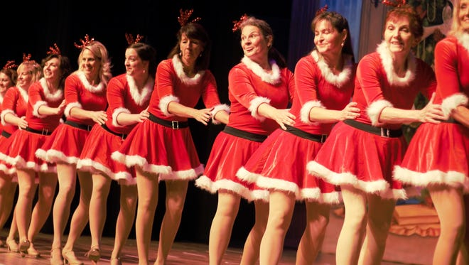 The women's tap line for Christmas at the Palace rehearses a dance routine during a dress rehearsal Tuesday evening. Christmas at the Palace is scheduled for Dec. 1-3. Ticket information is available at www.marionpalace.org.