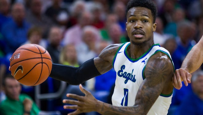 Florida Gulf Coast University junior, Brandon Goodwin,  drives to the hoop during the game against Siena College on Friday, December 9, 2016 at Alico Arena in Estero, Fla.