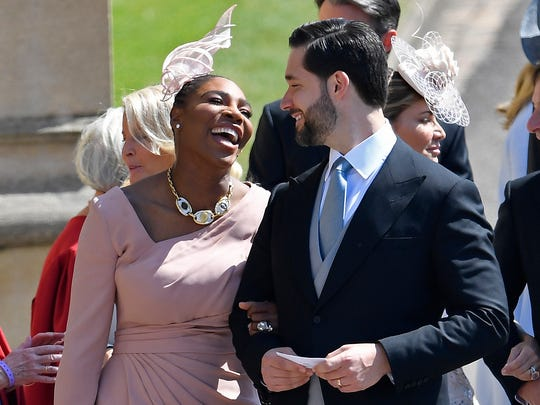 Serena Williams shares a laugh with her husband Alexis Ohanian.