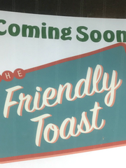 A sign at 86 St. Paul Street promotes the imminent arrival of The Friendly Toast restaurant, as seen June 19, 2018.