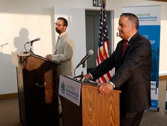 From left, Binghamton Mayoral candidate Tarik Abdelazim