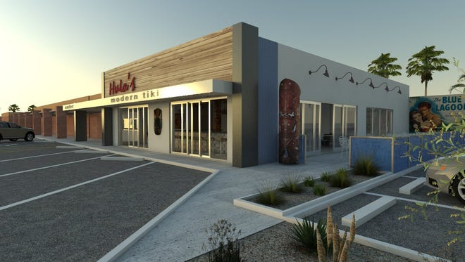 A rendering of the new Hula's Modern Tiki location opening on Seventh Street and Camelback Road in Phoenix this summer.