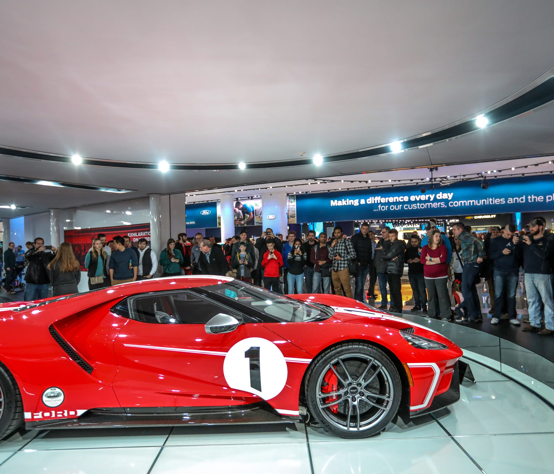 Ford GT is a big attration during the first public day of the North American International Auto Show in downtown Detroit on Saturday, Jan. 20, 2018.