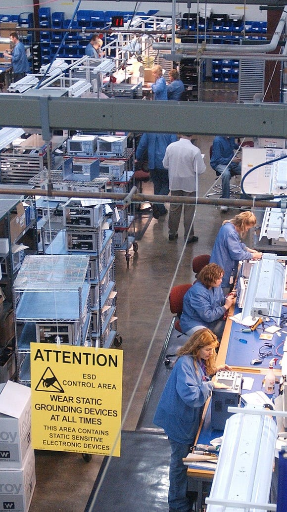 Plexus Corp. employees on the factory floor in Neenah