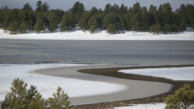Lake Mary frozen and surrounded by snow in Flagstaff on Dec. 31 2016.