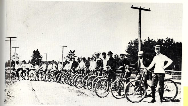 Port Huron wheelmen get ready for a race in the early 1900s.