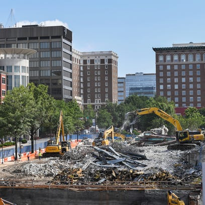 The site of the former Greenville News building on