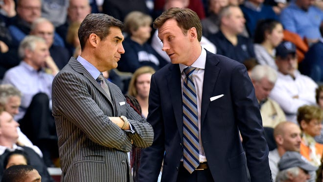 Villanova Wildcats head coach Jay Wright and assistant head coach Baker Dunleavy.