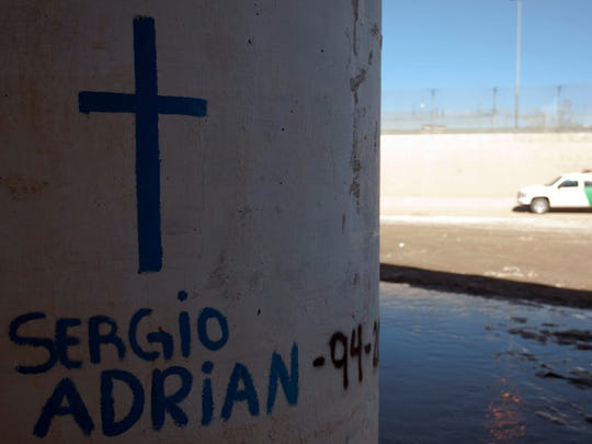 A cross was drawn on one of the walls below the Paso del Norte Bridge, where Sergio Adrián Hernández Güereca, a Juárez teenager, was shot and killed by a Border Patrol agent June 7, 2010. An attorney for the family filed a lawsuit against the U.S. government on behalf of the boy's parents. The U.S. Supreme Court will hear the case Tuesday.