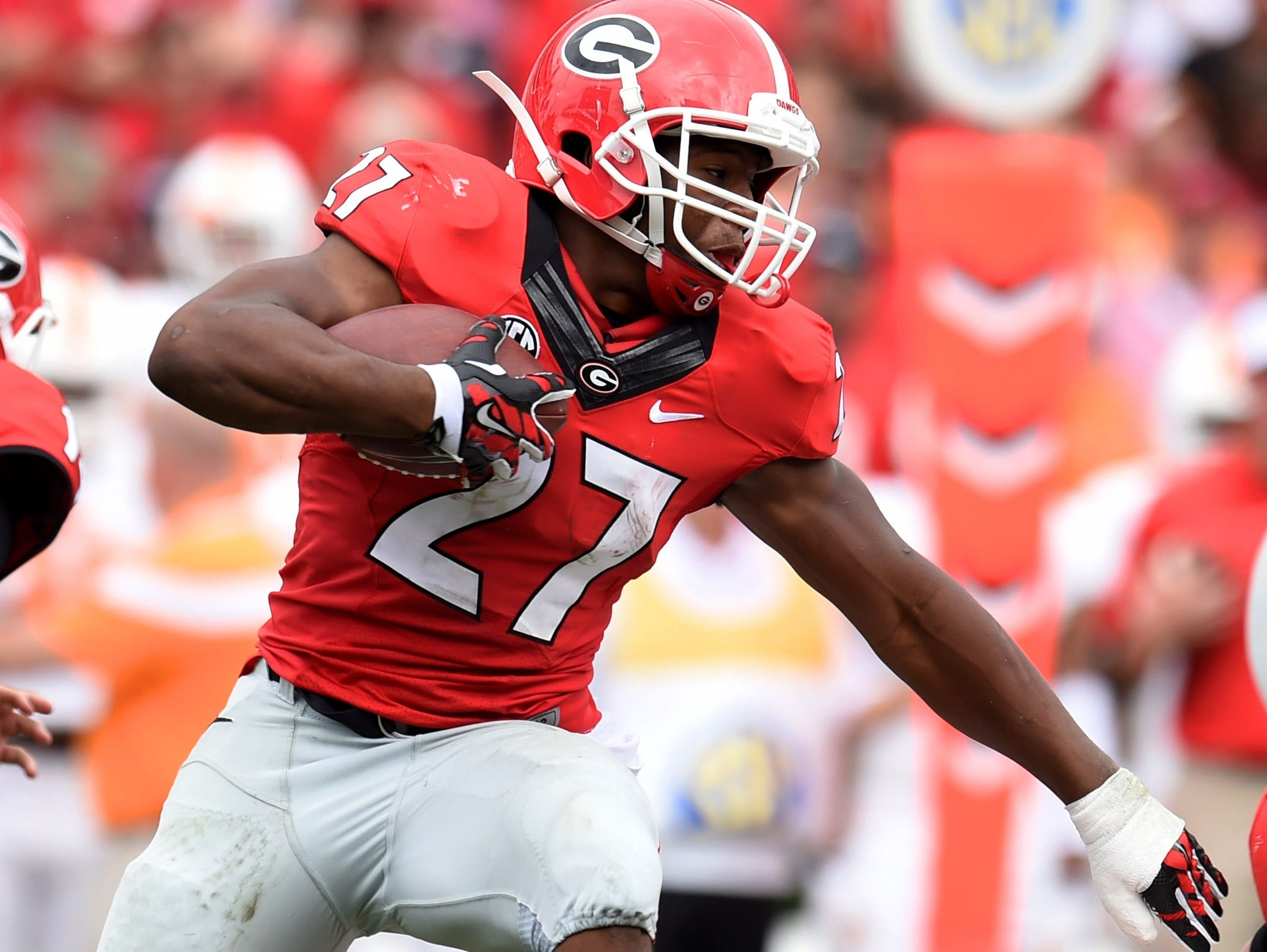 Paired with Sony Michel, running back Nick Chubb (27) gives Georgia one of the best rushing tandems in the SEC.