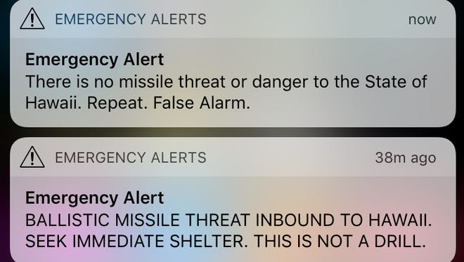The false alerts Jacob Cott received on Jan. 13, 2018 of an inbound ballistic missile to Hawaii.