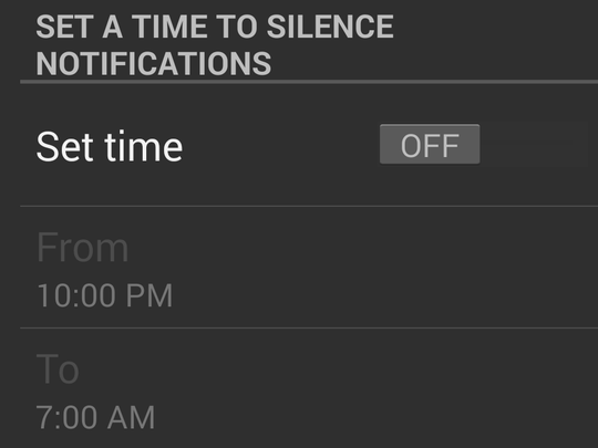 An option to silence notifications is at the bottom of the Notifications page.