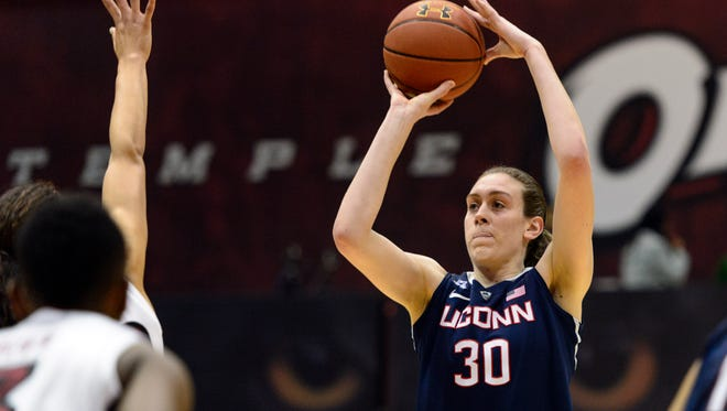 Connecticut Huskies forward Breanna Stewart shoots a jump shot during the first half against the Temple Owls at McGonigle Hall.