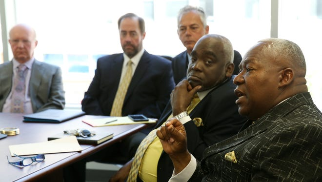 Rev. Clifford A. Florence Sr., President of Faith Community Alliance and Bishop Willie Davis, administrator of Faith Community Alliance of Greater Rochester meet with  Democrat and Chronicle Editorial Board, along with Del Lago Resort and Casino owner Tom Wilmot, Chris Riegle, President and General Manager of Finger Lakes Gaming and Racetrack and Mike Nolan, COO of Western Regional OTB.
