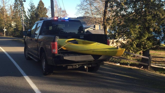 This kayak was found on the shore off Grapeview Loop Road.