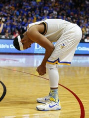 Wahlert senior Cordell Pemsl breaks down after a loss to Xavier in the 3A title game on Saturday, March 12, 2016, at Wells Fargo Arena in Des Moines.