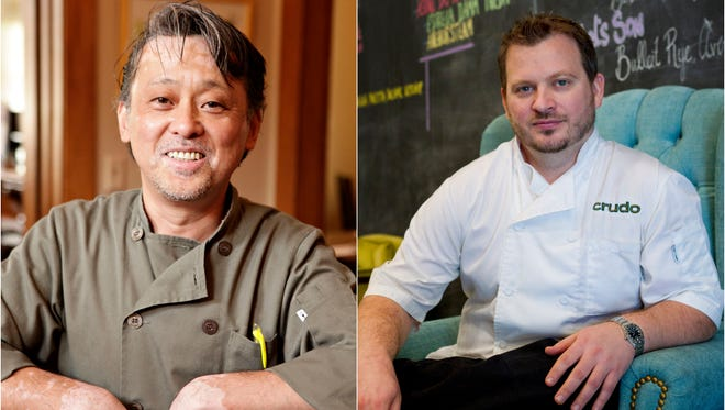 Learn to cook from 2 of the top chefs in Phoenix - Nobuo Fukuda and Cullen Campbell (R)