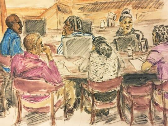 The defendants seen in this artist's sketch of court
