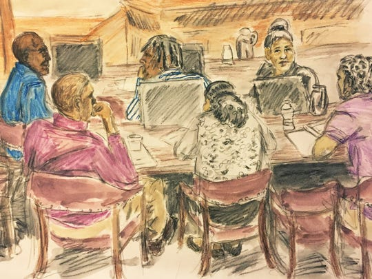 The defendants seen in this artist's sketch of court proceedings in the Kevin Quick murder trial in Charlottesville on Tuesday.
