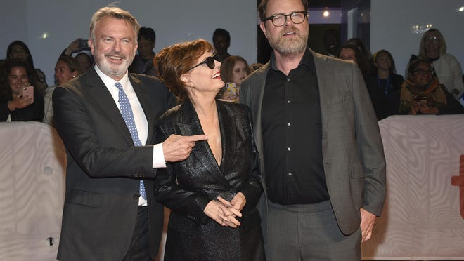 "From left, Sam Neill, Susan Sarandon and Rainn Wilson attend the premiere of ""Blackbird"" at the Toronto International Film Festival in September 2019."