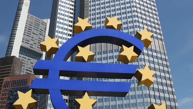 The EURO logo is pictured at the European Central Bank, ECB in Frankfurt/Main, central Germany, on July 3, 2014.  The bank is to move into the new building end of 2014. AFP PHOTO / DANIEL ROLANDDANIEL ROLAND/AFP/Getty Images ORG XMIT: - ORIG FILE ID: 531336138