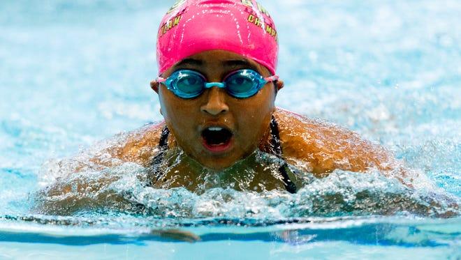 Reese Parton competes in the 25-yard breaststroke at the GKAISA 2017 Championship swim meet at Allan Jones Aquatic Center on Saturday, July 29, 2017.