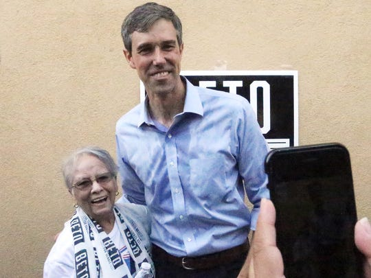 Victoria Carreto gets her photo taken with Democratic U.S. Senate Candidate Beto O'Rourke.