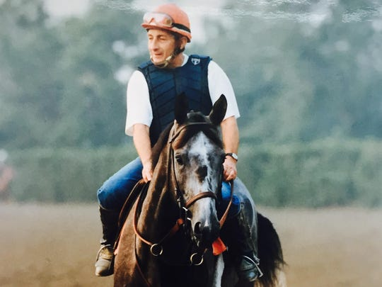 Holy Bull on the track at Monmouth Park for a morning workout in 1994, prior to winning the Haskell Invitational.