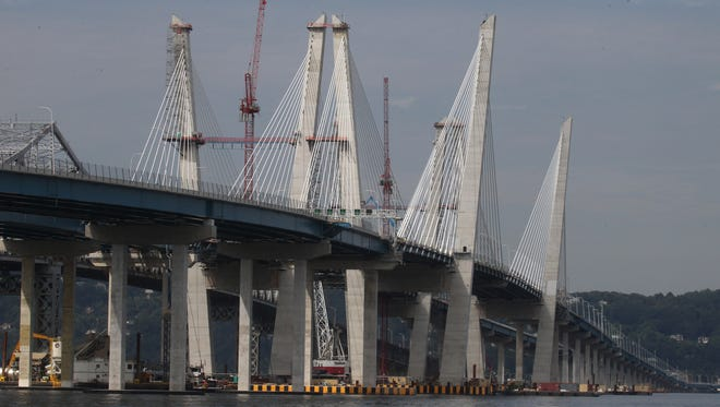 Most of the cables have been installed on the new Mario Cuomo Bridge, the replacement for the Tappan Zee Bridge Aug. 11, 2017.