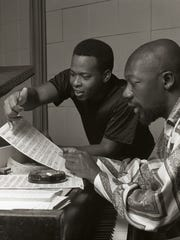 Undated image of Stax songwriters Isaac Hayes and David Porter.