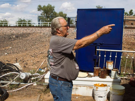 Steve Sussex gives a tour of his property in Tempe on Tuesday, Aug. 2, 2016. Sussex is part of a court battle with the city of Tempe to evict him from the land, which his family has occupied for more than 130 years.