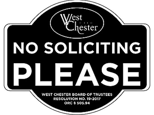 """West Chester Township is offering residents """"no soliciting"""""""