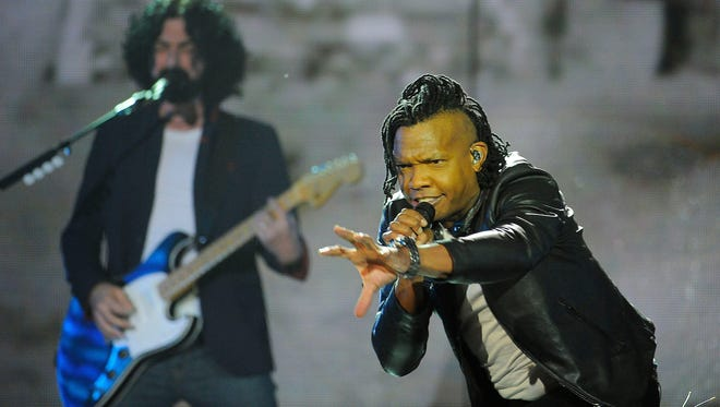 """Michael Tait of the Newsboys performs """"God's Not Dead"""" to open the 45th annual GMA Dove Awards in 2017."""