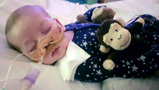 The family of Charlie Gard provided this undated photo of him at Great Ormond Street Hospital, in London. The parents of a terminally-ill baby boy lost the final stage of their legal battle on Tuesday, June 27, 2017, to take him out of a British hospital to receive treatment in the U.S., after a European court agreed with previous rulings that the baby should be taken off life support.