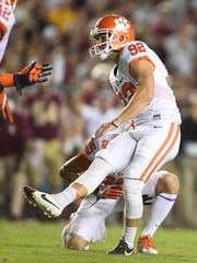 Clemson's Greg Huegel (92) watches a kick during the first quarter at Florida State's Doak Campbell Stadium in Tallahassee, Florida, on Saturday, October 29, 2016.