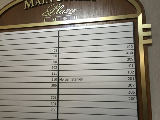 A lobby directory shows the last tenant to leave the Plaza 1000 office building in Voorhees' Main Street complex.