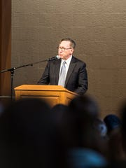 Dr. Lewis Thayne, president of Lebanon Valley College, addresses the student body at Lebanon Valley College's fourth annual Symposium on Inclusive Excellence on Tuesday, Jan. 24, 2017.