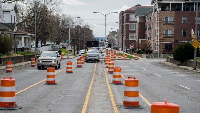 Barrels have been put in place for road work along U.S. 27 at the North Eighth Street split, as seen Monday, March 27, 2017.