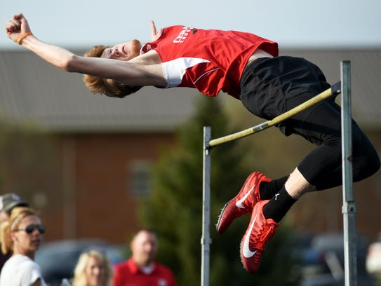 Crooksville's Teck Kirkpatrick competes in the high jump during the Muskingum Valley League Track and Field Championships on May 11, 2018, at Maysville High School.
