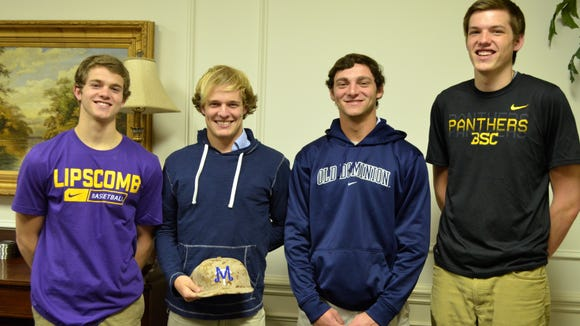 From left: BGA's Nathan Moran, Tucker Beathard, Matt Cogen, Sam Martin