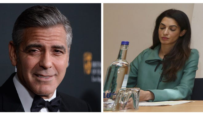 Combo picture shows George Clooney in Los Angeles in November 2013, and fiancee Amal Alamuddin in London in November 2012.